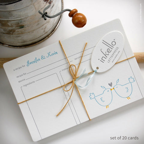 Love Birds Personalized Recipe Cards (#266) Recipe cards - Inkello Letterpress