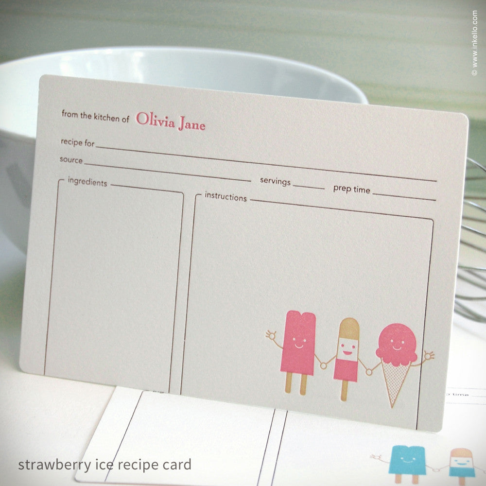 Cool Friends Personalized Recipe Cards {#283} Recipe cards - Inkello Letterpress