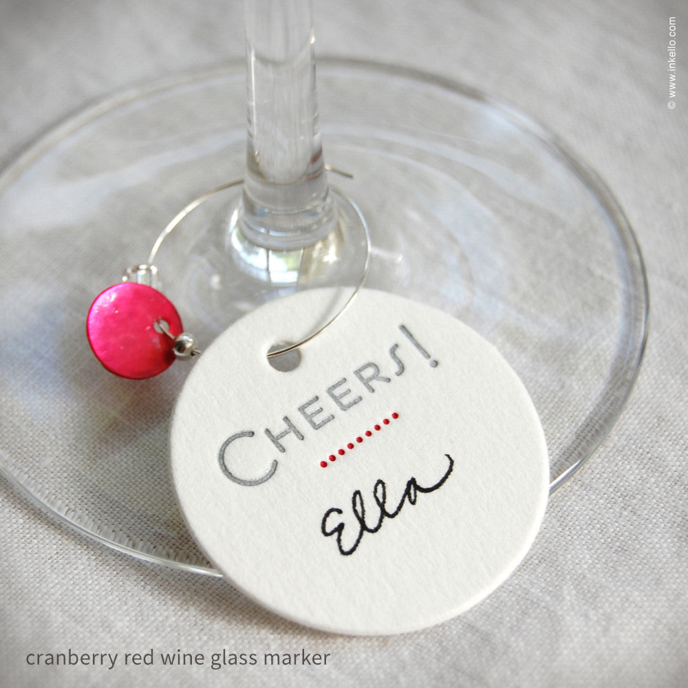 """Cheers"" Dotted Wine Glass Markers (#286) Wine Glass Markers - Inkello Letterpress"