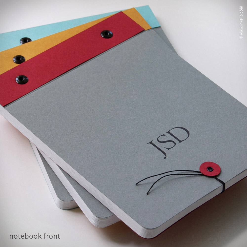 Slate Grey Monogram Notebook (#298) Notebook - Inkello Letterpress