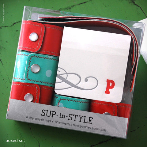 Sup-in-Style Monogrammed Place Card + Snapkin Ring Set {#303} Place Cards + Napkin Rings - Inkello Letterpress