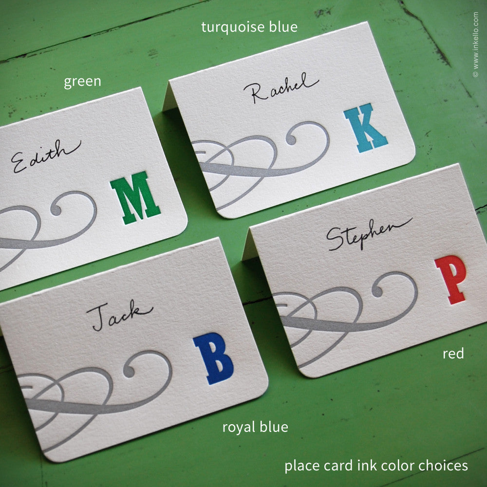 Silver Swirl Monogram Place Cards (#304) Place Cards - Inkello Letterpress