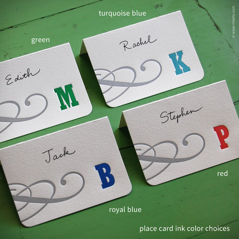 Silver Swirl Monogram Place Cards {#304} Place Cards - Inkello Letterpress