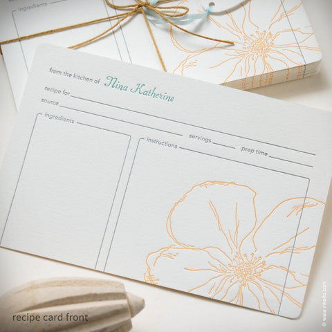 Snow Drop Anemone Personalized Recipe Cards {#307} Recipe cards - Inkello Letterpress