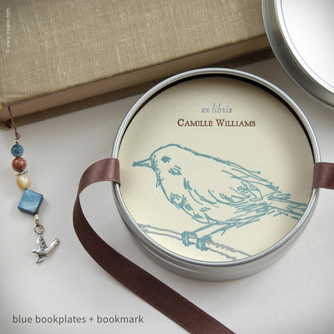 Bird Personalized Bookplates + Beaded Bookmark (#311) Bookplate - Inkello Letterpress