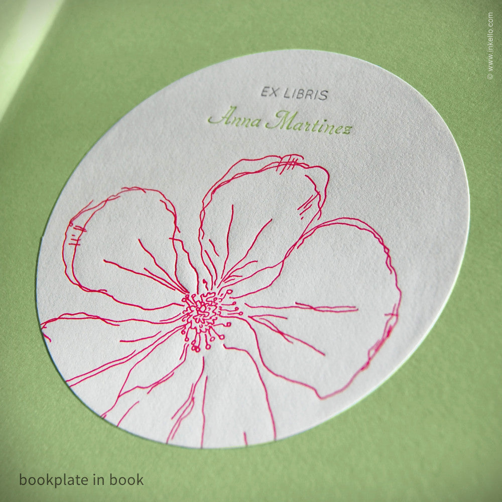 Snow Drop Anemone Personalized Bookplates with Beaded Bookmark (#312) Bookplate - Inkello Letterpress