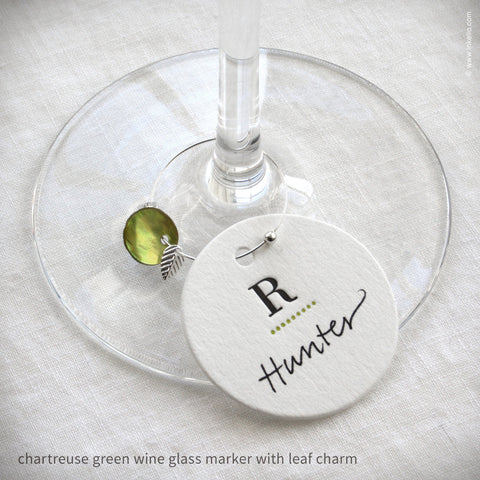 Monogrammed Dotted Wine Glass Markers (#318) Wine Glass Markers - Inkello Letterpress