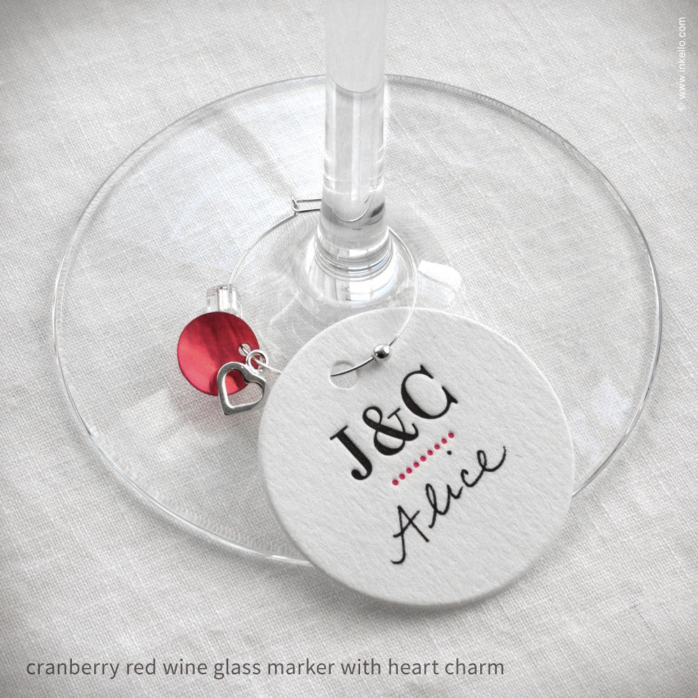 Monogrammed Dotted Wine Glass Markers {#318} Wine Glass Markers - Inkello Letterpress