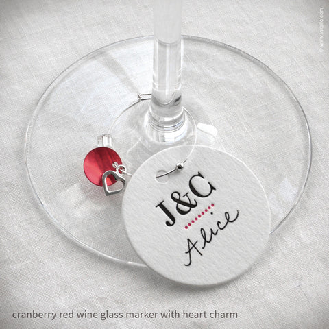 Monogrammed Dotted Wine Glass Markers (#318)
