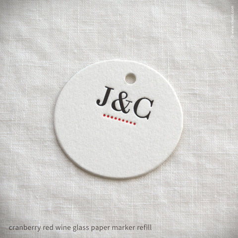 Monogrammed Dotted Wine Glass Marker Refills (#319) Wine Glass Markers - Inkello Letterpress