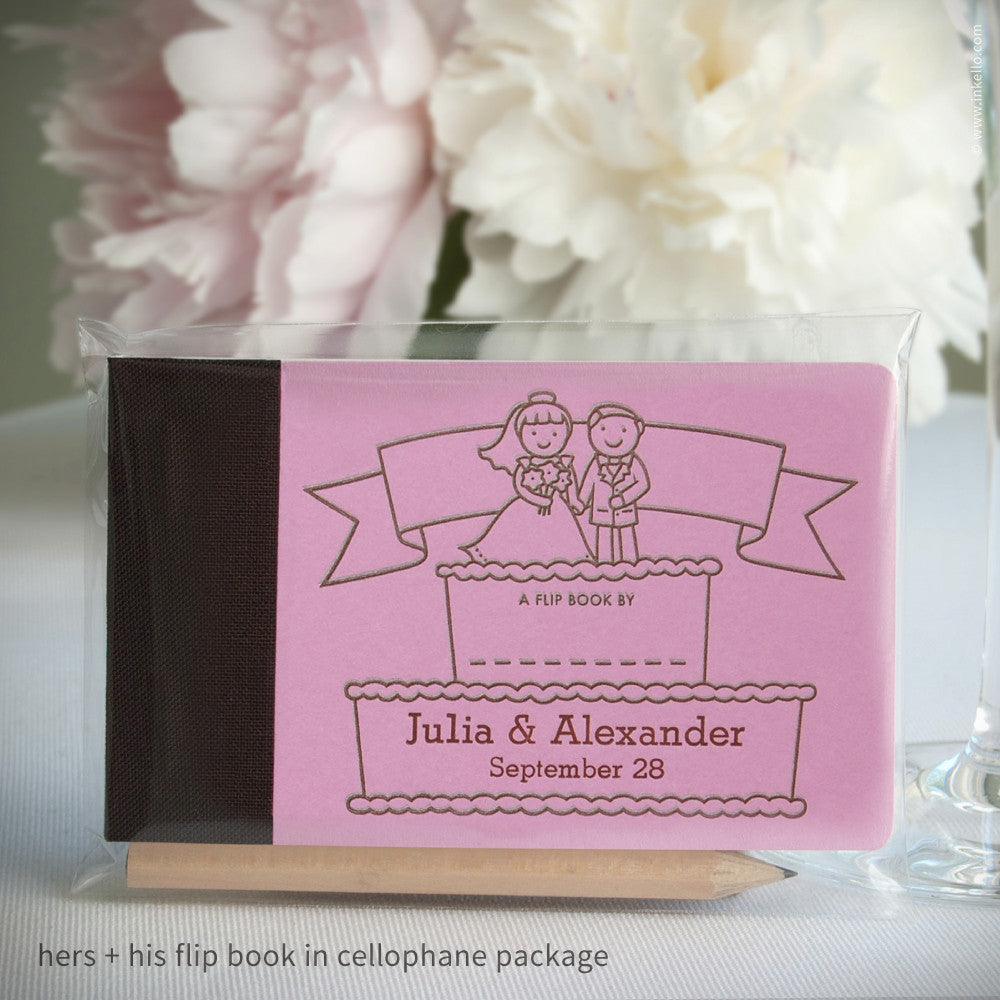 Inkello® Letterpress Personalized Wedding Cake Flip Books + Pencil ...