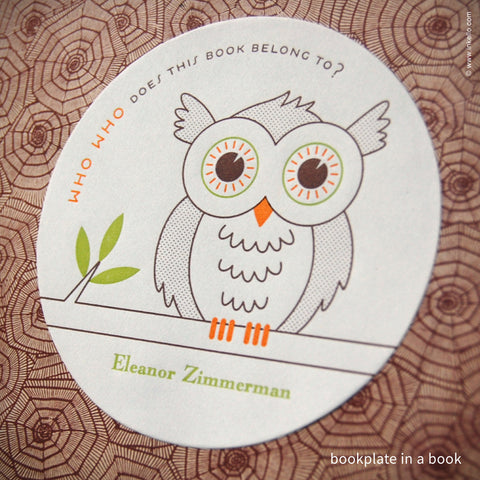 Owl Personalized Bookplates + Beaded Bookmark (#328) Bookplate - Inkello Letterpress