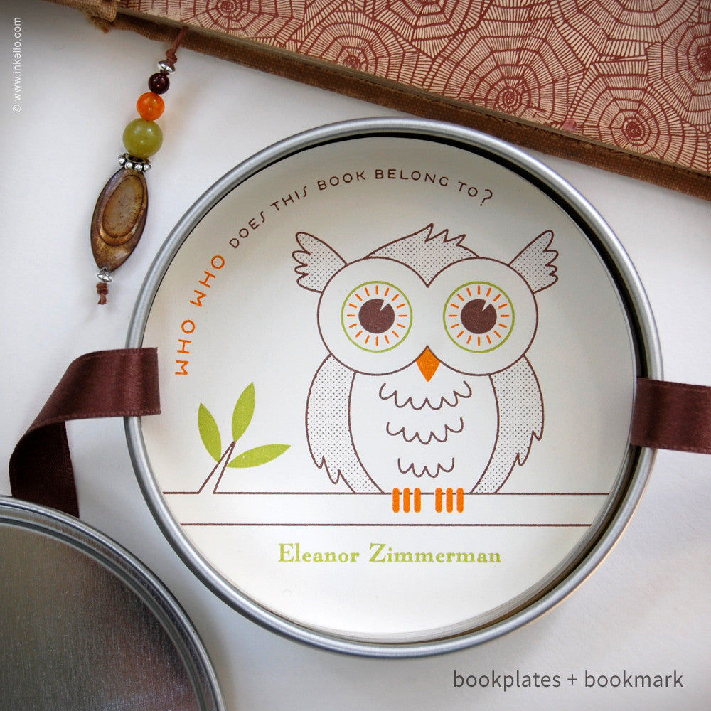 Owl Personalized Bookplates + Beaded Bookmark {#328} Bookplate - Inkello Letterpress