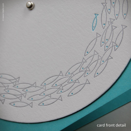 Silver School of Fish Note Card (#336) Greeting Card - Inkello Letterpress