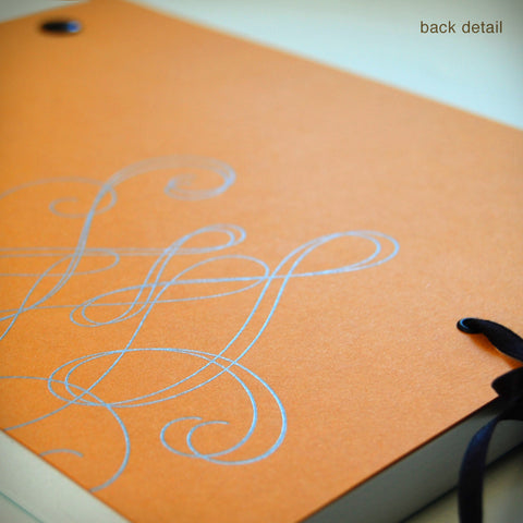 Swirly Notebook with Black Screwposts + Silk Ribbon (#338)