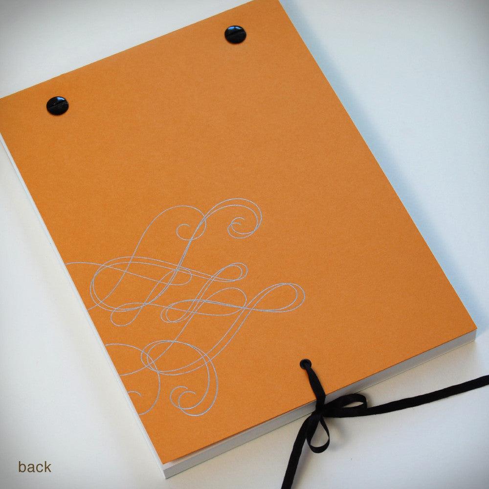 Swirly Notebook with Black Screwposts + Silk Ribbon (#338) Notebook - Inkello Letterpress