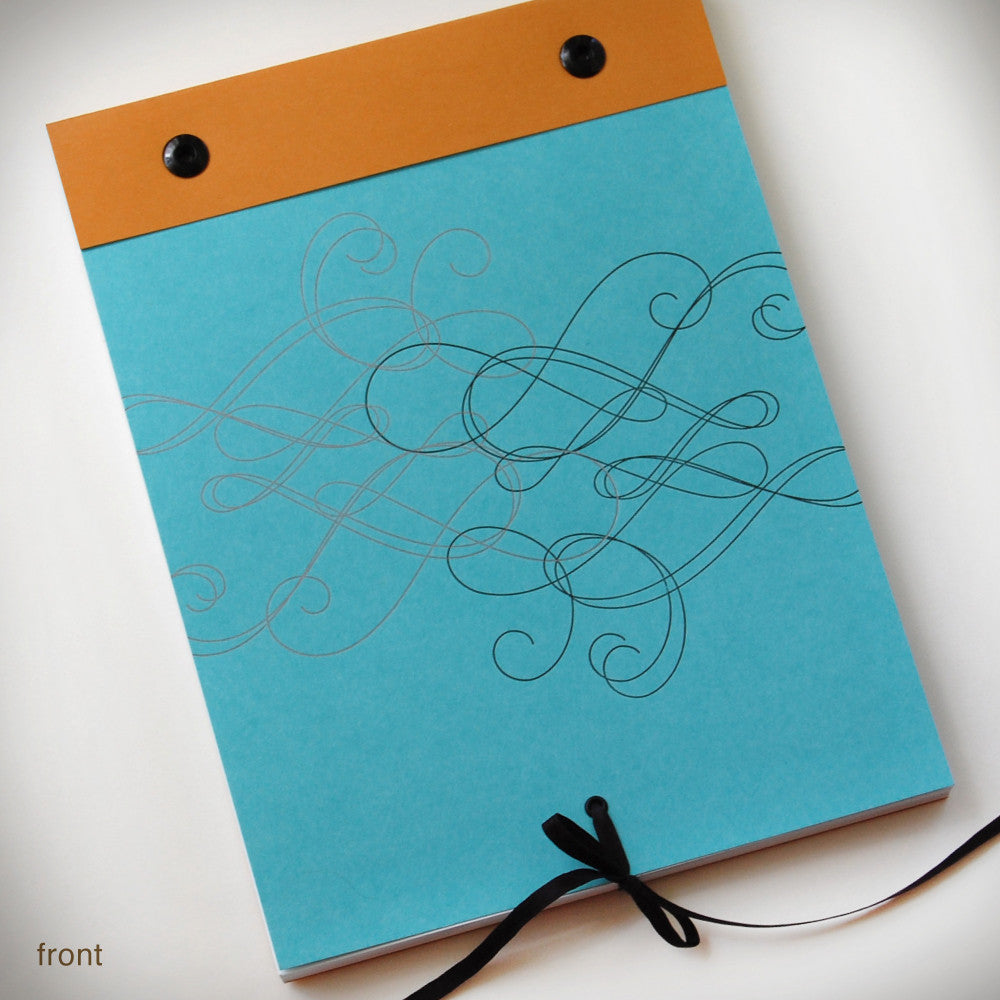Blue + Mango Swirly Notebook {#338} Notebook - Inkello Letterpress
