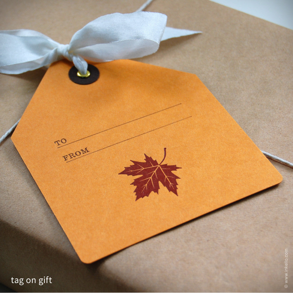 Maple Leaf Gift Tag (#339) Gift Tag - Inkello Letterpress