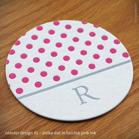 Patterned Monogram Coasters (#344) Coasters + Trays - Inkello Letterpress