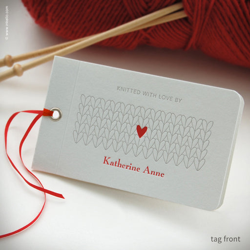 Heart Personalized Knitting Tags (#353) Knitting Tag - Inkello Letterpress