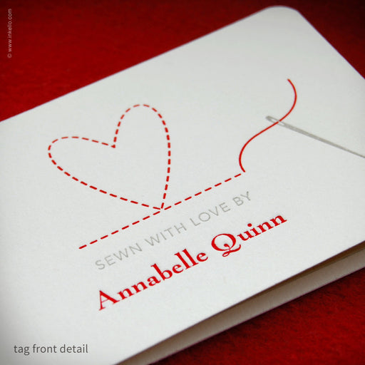 Heart Personalized Sewing Tags (#355) Sewing Tags - Inkello Letterpress