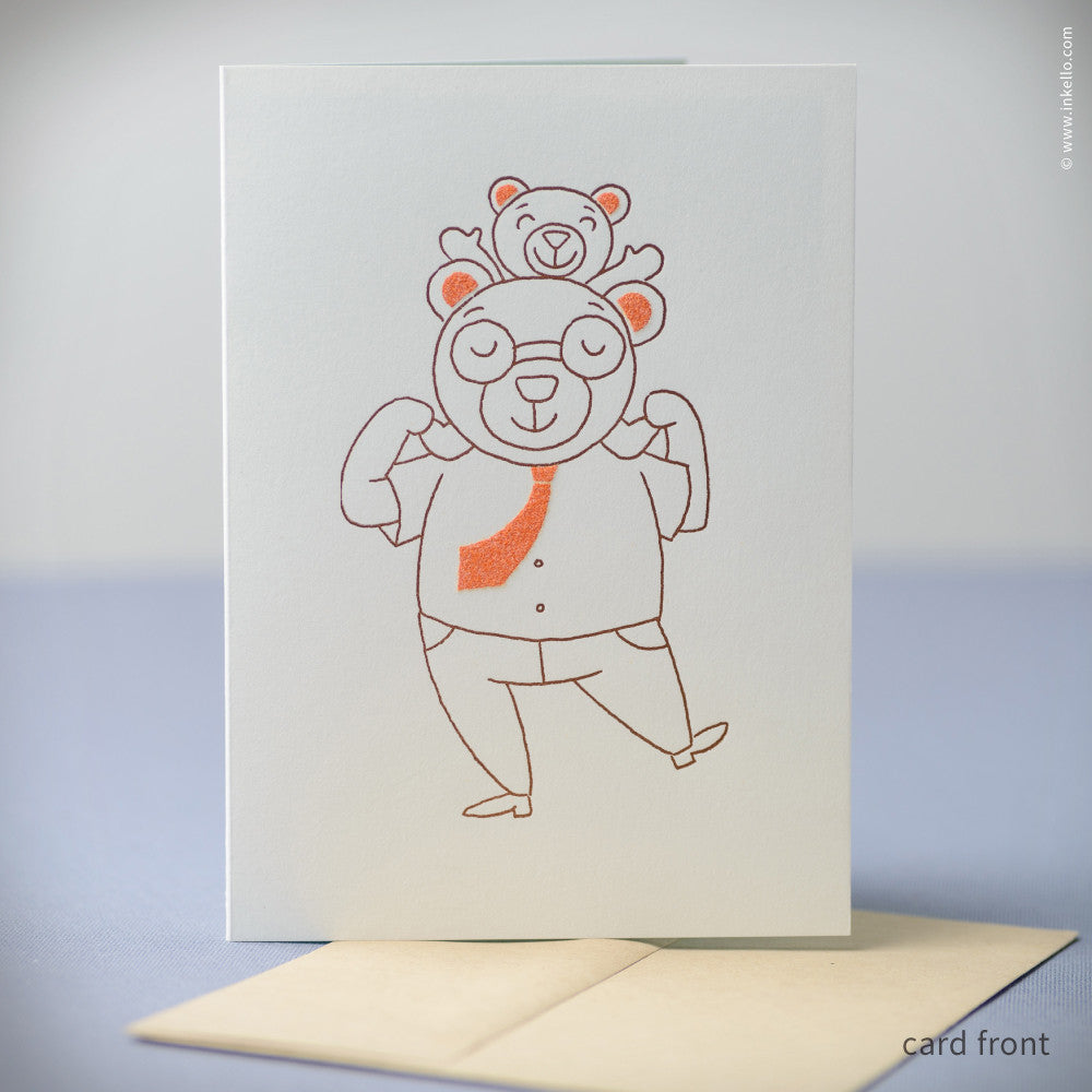 Bear Father's Day Card (#384)  - Inkello Letterpress