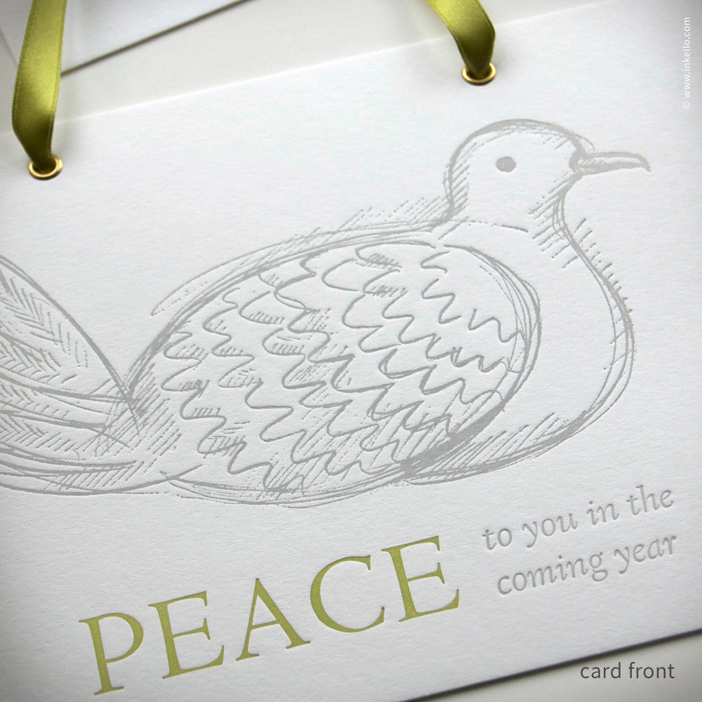 "Dove ""Peace"" Hangable Greeting Card (#405) Greeting Card - Inkello Letterpress"