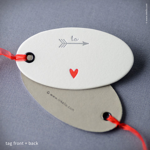 Tiny Red Heart Duplex Gift Tag (#414)  - Inkello Letterpress