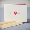 Pink Heart with Silver Arrow Card (#415) Greeting Card - Inkello Letterpress