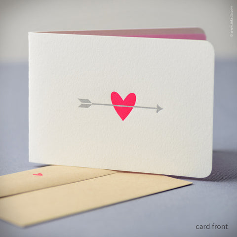 Pink Heart with Silver Arrow Card (#415)