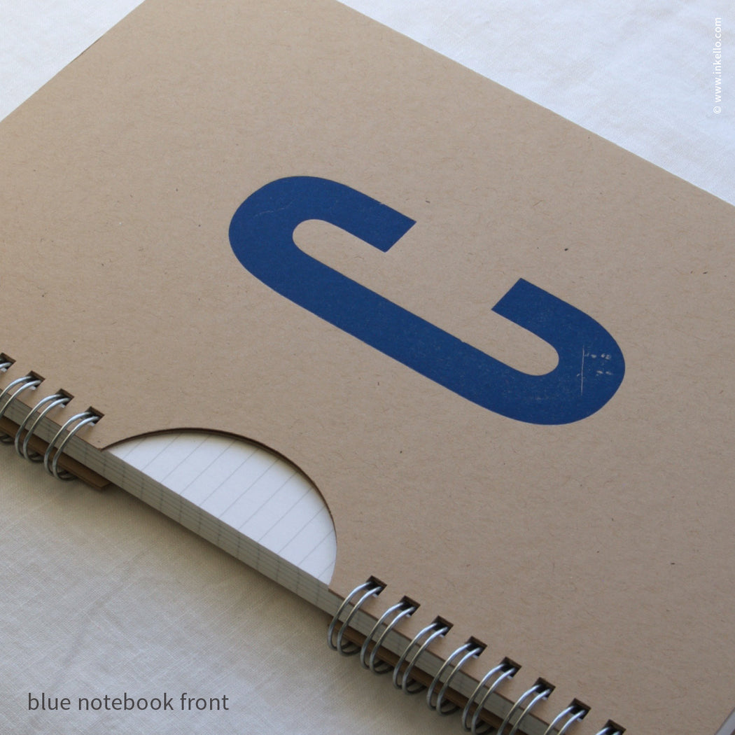 Blue Monogram Spiral Notebook with Kraft Cover (#450)