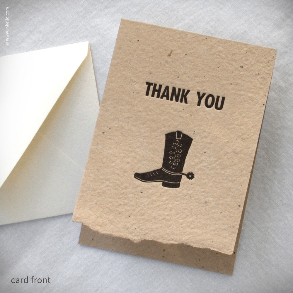 Cowboy Boot Thank You Card (#451) Greeting Card - Inkello Letterpress