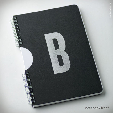 Monogram Spiral Notebook with Black Cover (#455) Notebook - Inkello Letterpress