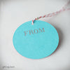 Red and Blue-Green Duplex Circular Gift Tag (#459) Gift Tag - Inkello Letterpress