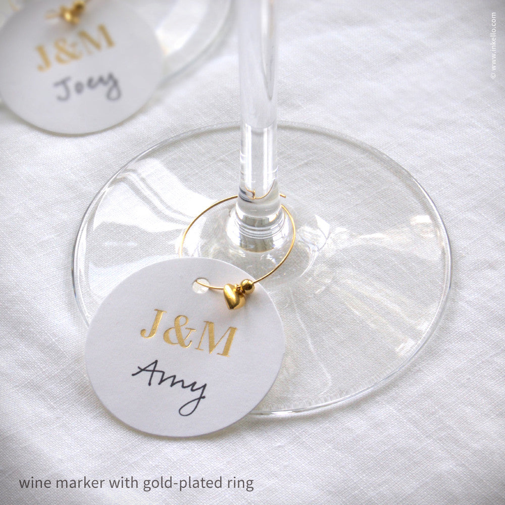 Monogrammed Gold Foil Wine Glass Markers {#469} - Inkello