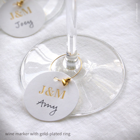 Monogrammed Gold Foil Wine Glass Markers (#469) Wine Glass Markers - Inkello Letterpress