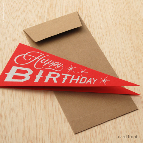 "Red ""Happy Birthday"" Pennant Card (#488)"