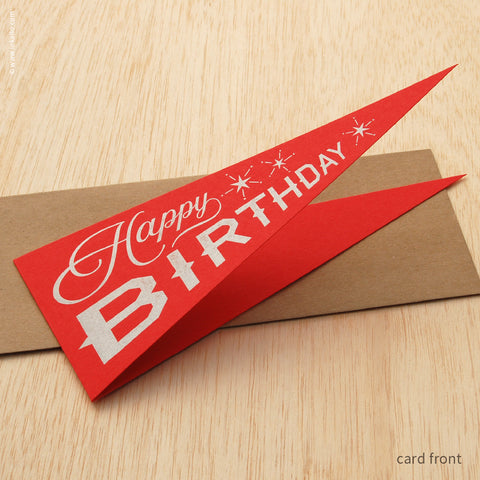 "Red ""Happy Birthday"" Pennant Card (#488) Greeting Card - Inkello Letterpress"