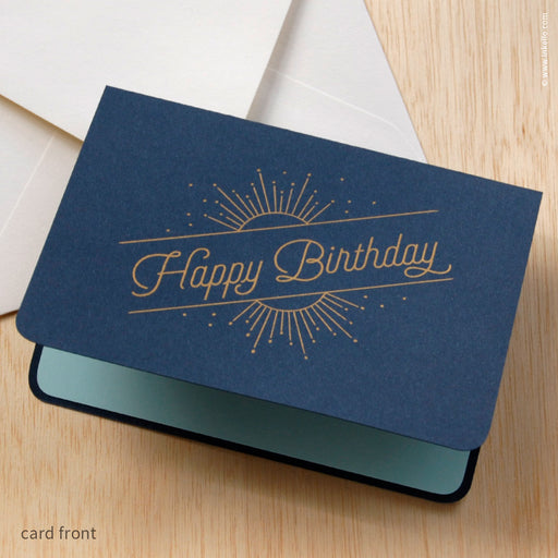 "Navy ""Happy Birthday"" Birthday Sun & Stars Card (#489) Greeting Card - Inkello Letterpress"