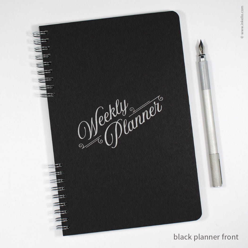 Perpetual Weekly Planner with Black Cover and Silver Script Design (#492)