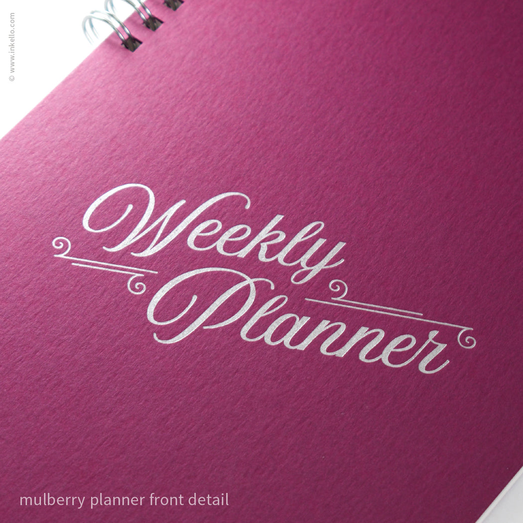 Weekly Planner with Mulberry Cover and Silver Script Design (#492)
