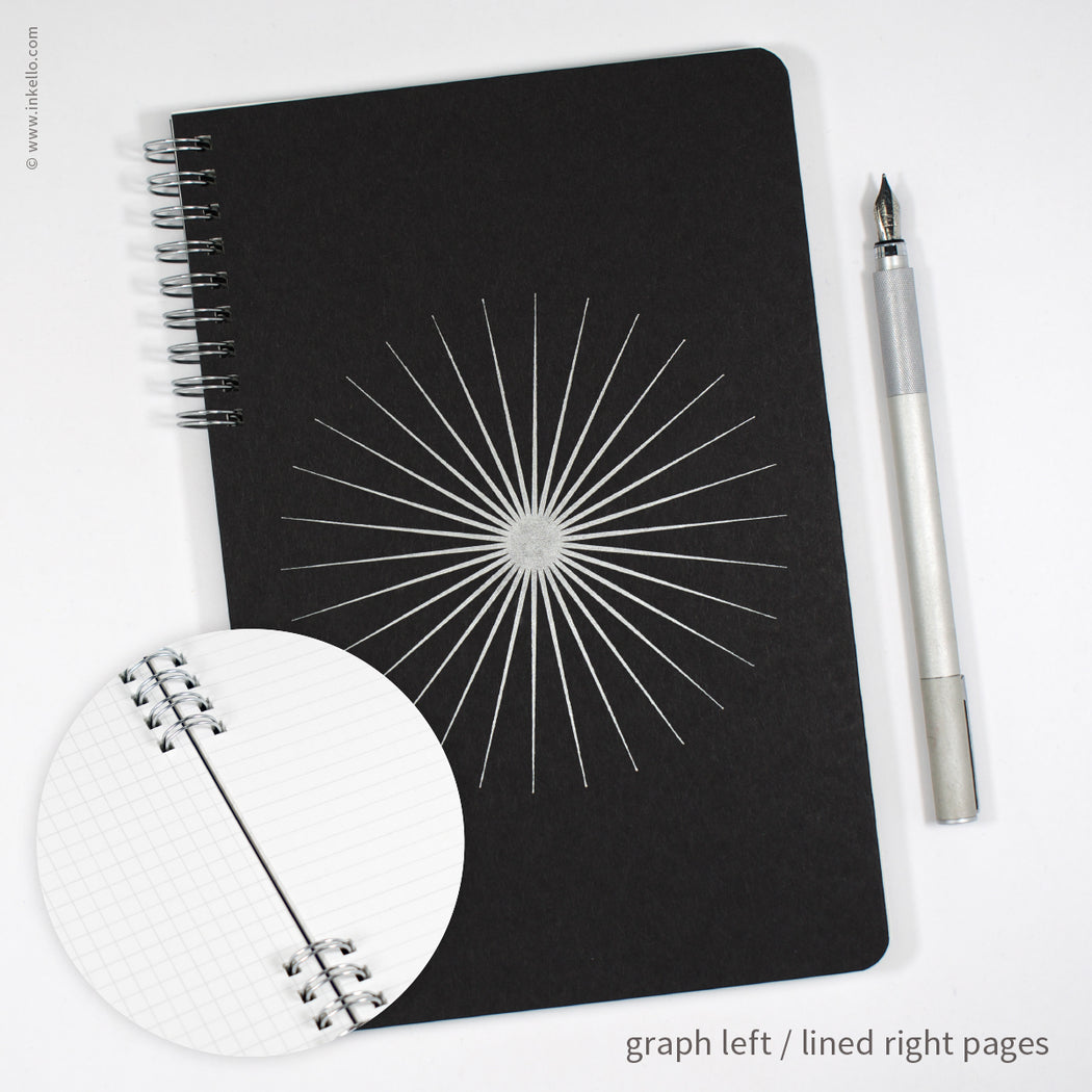Big Burst Spiral Notebook with Black Cover and Silver Ink (#505)