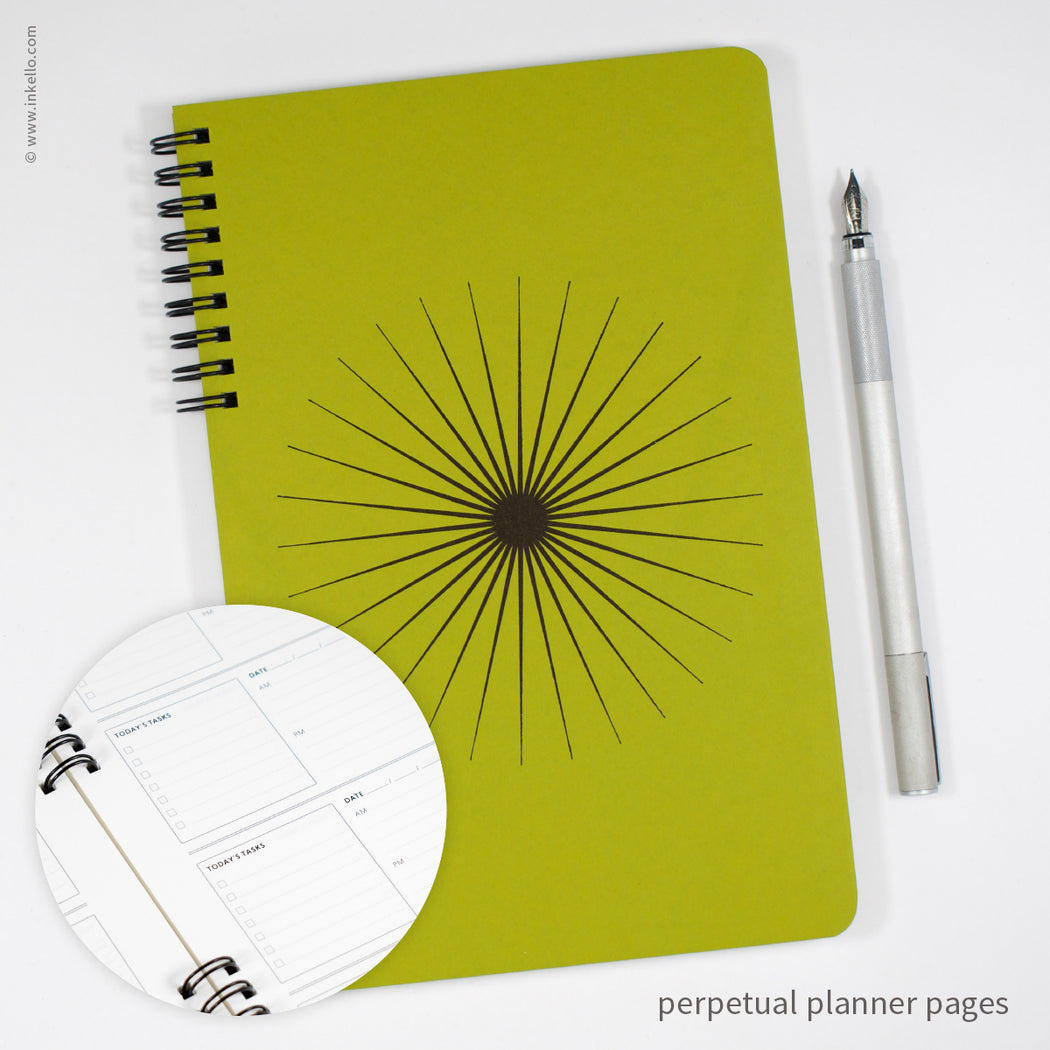Big Burst Spiral Notebook with Chartreuse Cover and Black Ink (#505)