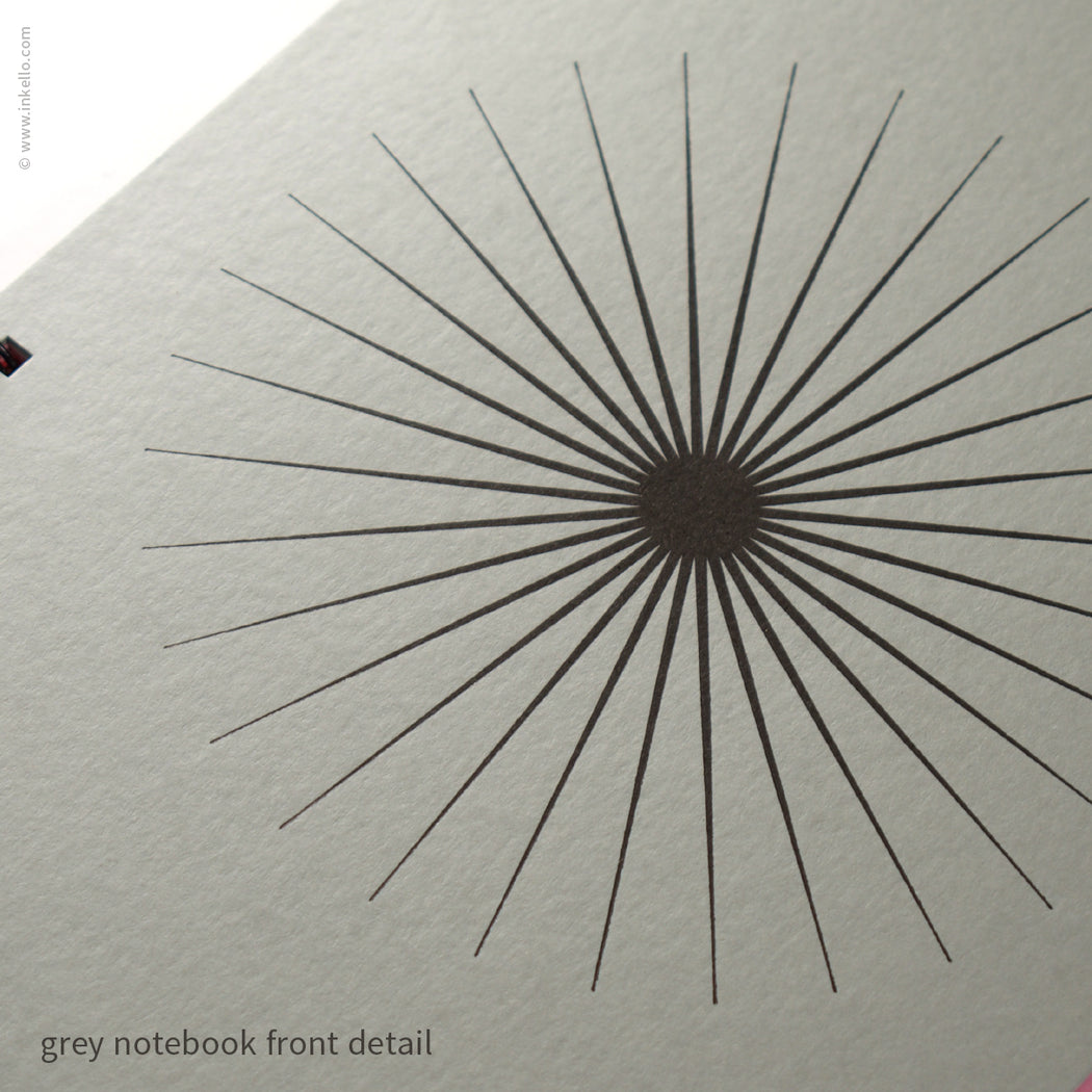 Big Burst Spiral Notebook with Grey Cover and Black Ink (#505)