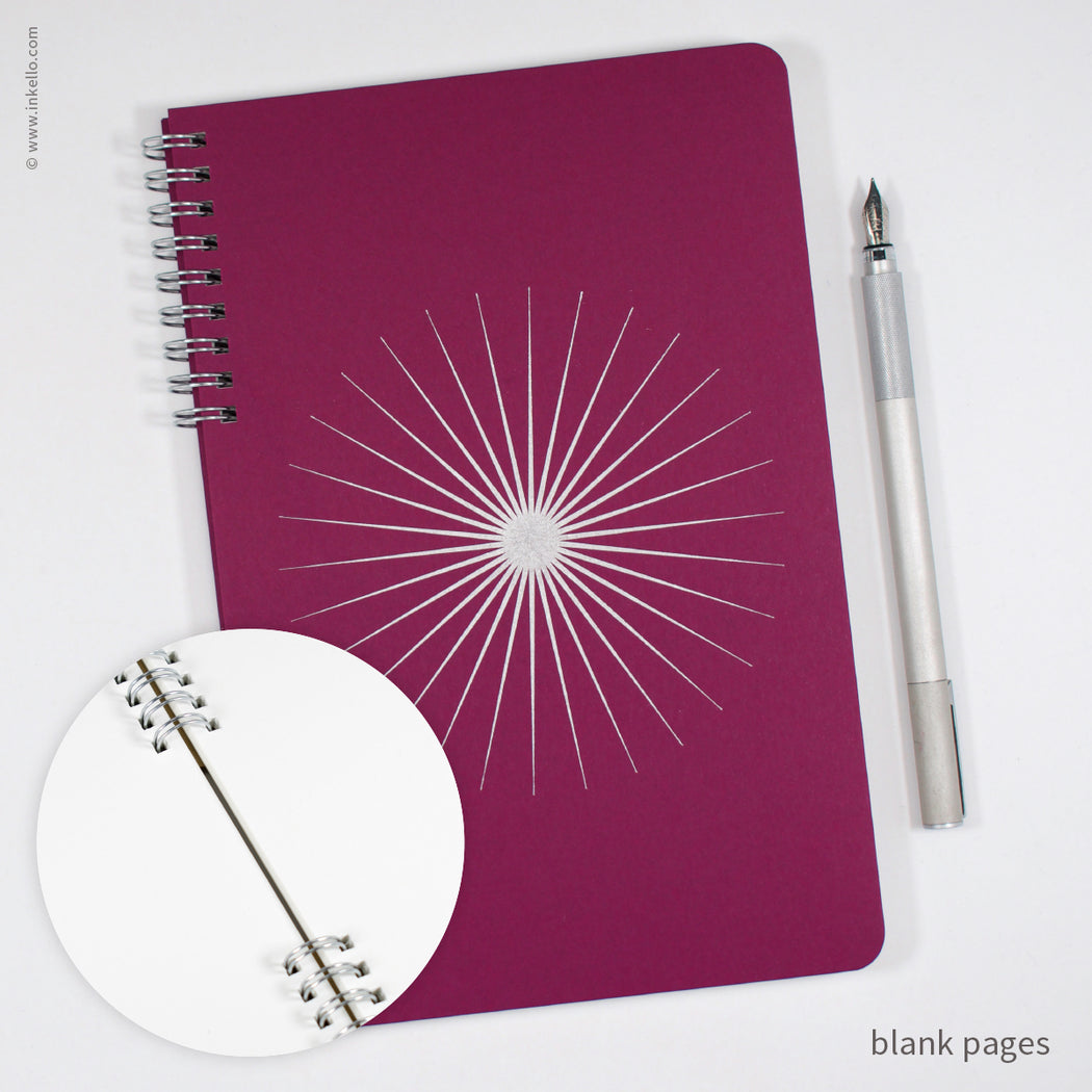 Big Burst Spiral Notebook with Mulberry Cover and Silver Ink (#505)