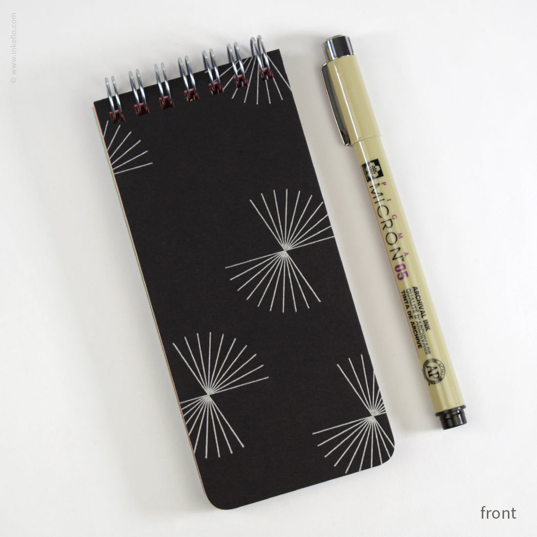 Small Black Spiral Notepad With Bursts + Rainbow Pages (#508)