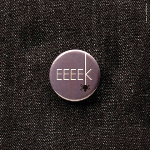 Front of Inkello Halloween EEEEK Spider 1 1/4 inch Button With Pin - 603