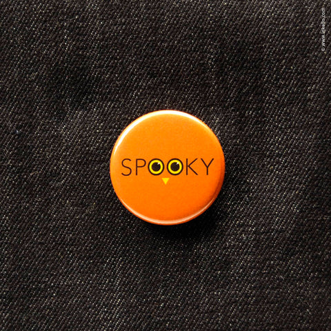 Front of Inkello Halloween Spooky Owl Eyes 1 1/4 inch Button With Pin - 603
