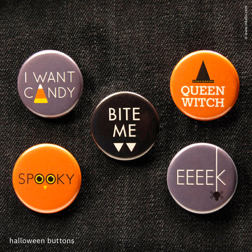 Halloween Buttons (#603) Button - Inkello Letterpress