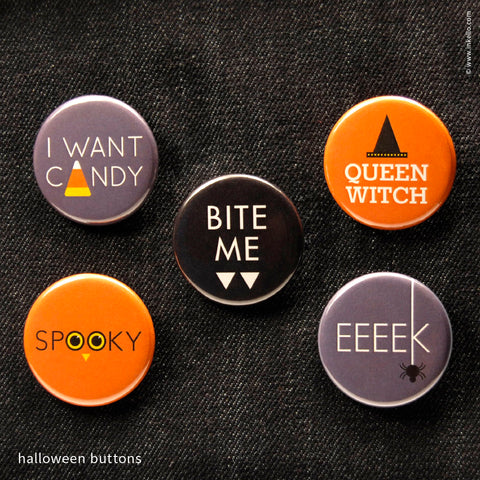 Fronts of Inkello Halloween Buttons 1 1/4 inch Button With Pin - 603